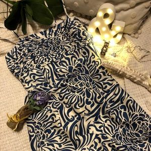 ANN TAYLOR 6 Blue & White Lined 100% Silk Dress